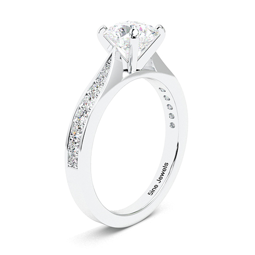 Round Brilliant Cut Vintage Tap up Diamond Pave Engagement Ring 18K-White Gold