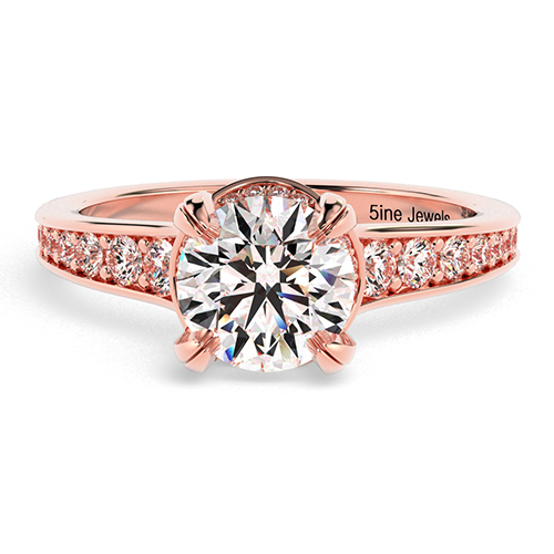 Round Brilliant Cut Contemporary Double Prong  Side Stone  Engagement Ring