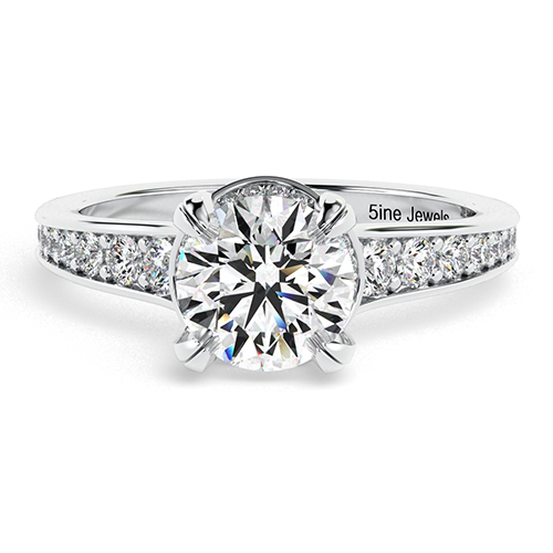 1.25 Ct SI2 G Round Brilliant Cut Contemporary Double Prong Diamond Pave Engagement Ring 18K-White Gold