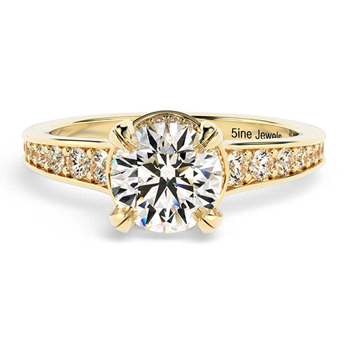 Round Brilliant Cut Contemporary Double Prong Diamond Pave Engagement Ring