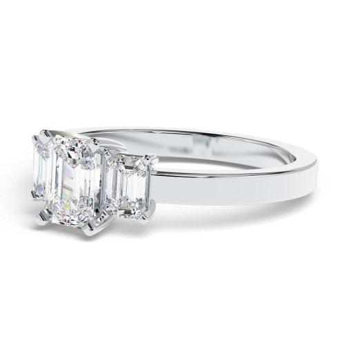2.00 Ct SI2 G Emerald Cut Five Stone Diamond Pave Engagement Ring 18K-White Gold