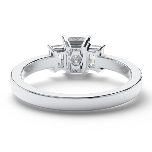 Emerald Cut Five Stone  Side Stone  Engagement Ring
