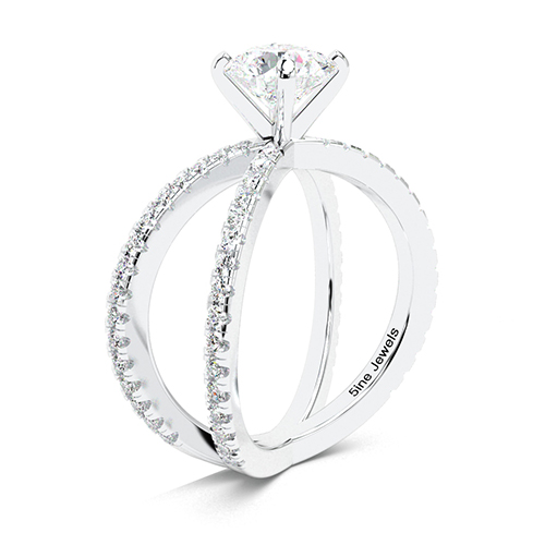 1.40 Ct SI2 H Round Brilliant Cut Studio Empress Diamond Pave Engagement Ring 18K-White Gold