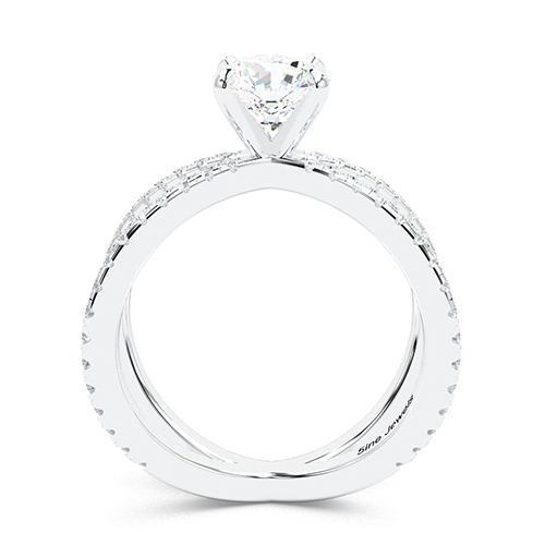 Round Brilliant Cut Studio Empress  Side Stone  Engagement Ring