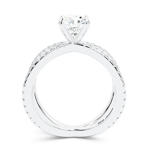 1.40 Ct SI2 H Round Brilliant Cut Studio Empress Diamond Pave Engagement Ring 18K-White Gold