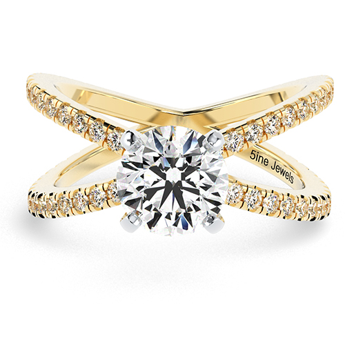Round Brilliant Cut Studio Empress  Side Stone  Engagement Ring