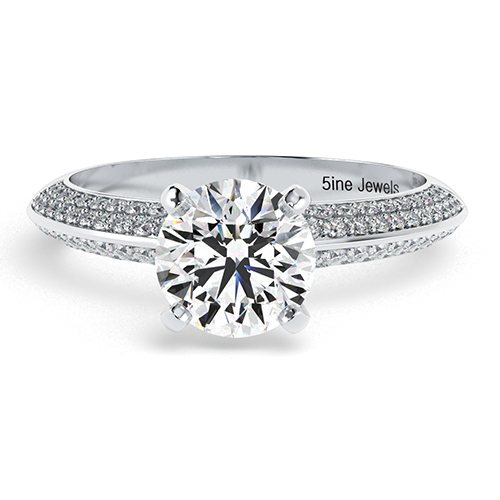 1.40 Ct SI2 G Round Brilliant Cut Knife Edge Micropavé Diamond Pave Engagement Ring 18K-White Gold