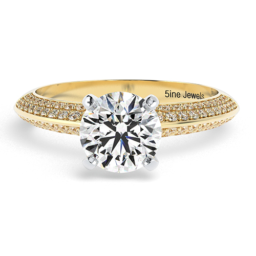 Round Brilliant Cut Knife Edge Micropavé  Side Stone  Engagement Ring