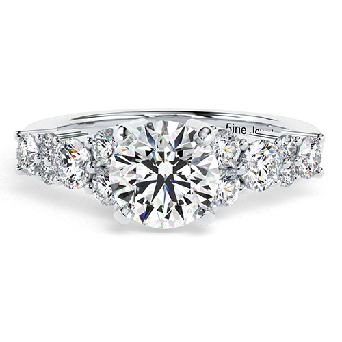Round Brilliant Cut Garland  Side Stone  Engagement Ring