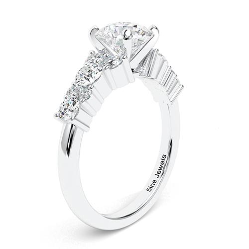 1.40 Ct SI2 G Round Brilliant Cut Garland Sapphire Diamond Pave Engagement Ring 18K-White Gold