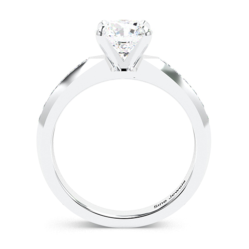 1.30 Ct SI2 H Round Brilliant Cut Channel Set Sapphire Diamond Pave Engagement Ring 18K-White Gold
