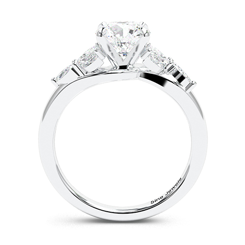 Round Brilliant Cut Leaf Inspired  Side Stone  Engagement Ring