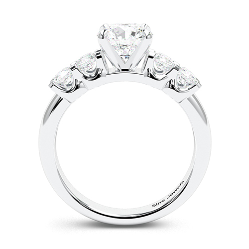 1.80 Ct SI2 D Round Brilliant Cut Five Stone Diamond Pave Engagement Ring 18K-White Gold
