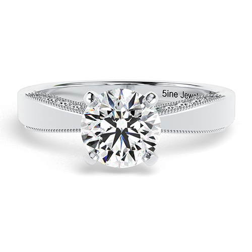 0.96 Ct SI2 D Round Brilliant Cut Milgrain Diamond Pave Engagement Ring 18K-White Gold