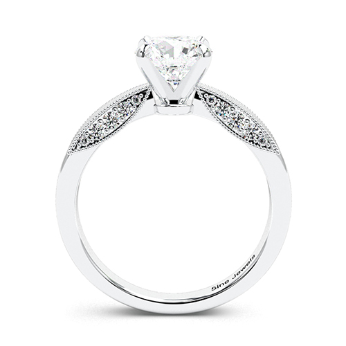 Round Brilliant Cut Milgrain  Side Stone  Engagement Ring