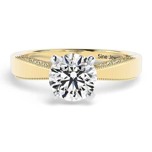 Round Brilliant Cut Milgrain  Side Stone  Engagement Ring
