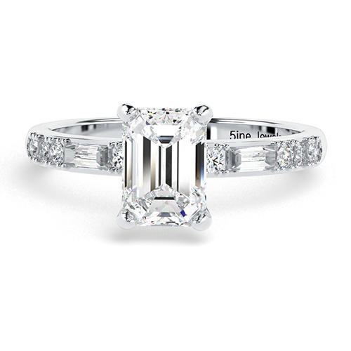 1.10 Ct VS2 H Emerald Cut Colin Cowie Dot Dash Diamond Pave Engagement Ring 18K-White Gold