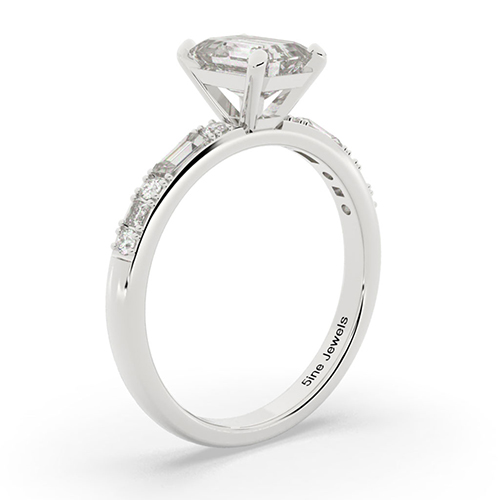 Emerald Cut Colin Cowie Dot Dash  Side Stone  Engagement Ring