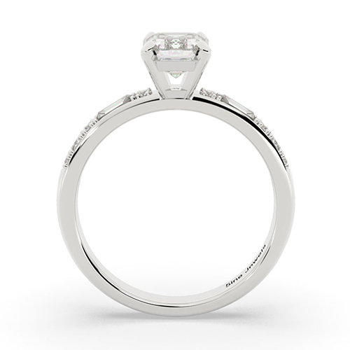 1.10 Ct VS2 H Emerald Cut Colin Cowie Dot Dash Diamond Pave Engagement Ring 18K-White Gold