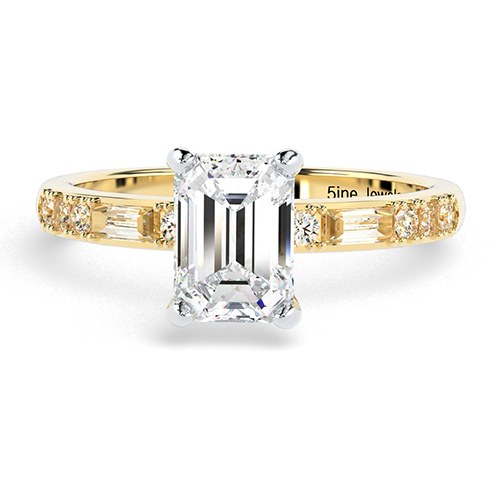 1.10 Ct VS2 H Emerald Cut Colin Cowie Dot Dash Diamond Pave Engagement Ring 18K-Yellow Gold
