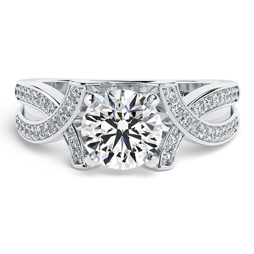 Round Brilliant Cut Intertwined  Side Stone  Engagement Ring