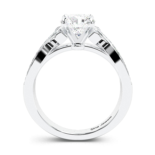 1.30 Ct SI2 G Round Brilliant Cut Intertwined Diamond Pave Engagement Ring 18K-White Gold