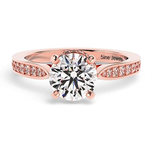 Round Brilliant Cut Tapered Milgrain  Side Stone  Engagement Ring