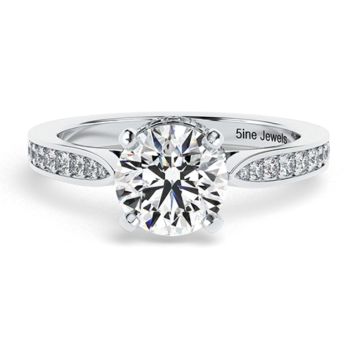 1.25 Ct SI2 G Round Brilliant Cut Tapered Milgrain Diamond Pave Engagement Ring 18K-White Gold