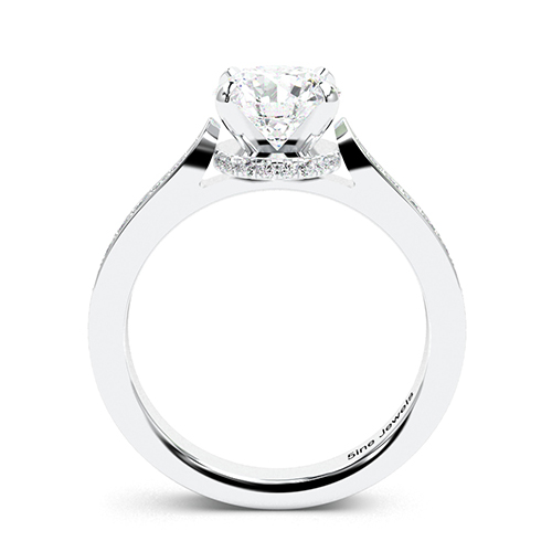 1.25 Ct SI2 G Round Brilliant Cut Tapered Milgrain Diamond Pave Engagement Ring 18K-White Gold