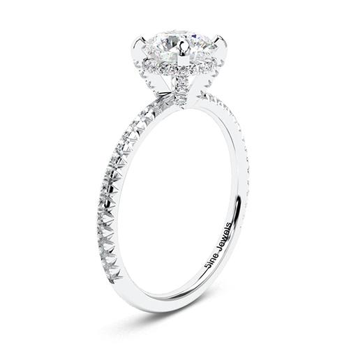 1.35 Ct VS2 G Round Brilliant Cut Petite French Diamond Pave Engagement Ring 18K-White Gold