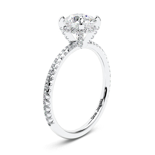 1.35 Ct VS2 G Round Brilliant Cut Petite French Diamond Pave Engagement Ring 18K-White Gold