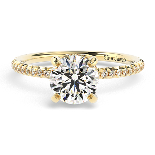 Round Brilliant Cut Petite French  Side Stone  Engagement Ring