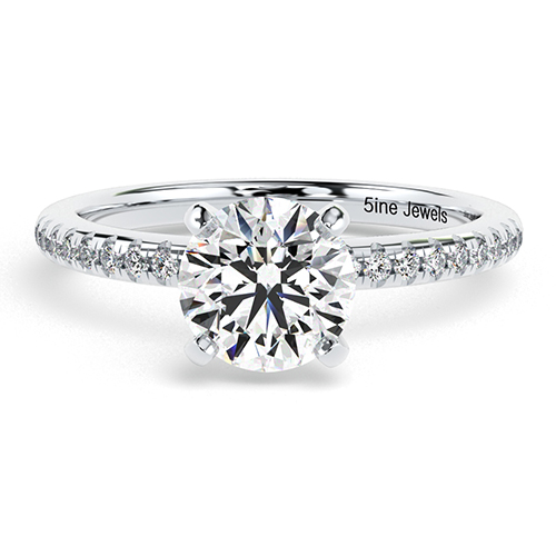 Round Brilliant Cut Riviera  Side Stone  Engagement Ring