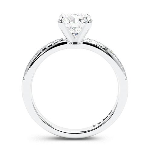 1.20 Ct SI2 E Round Brilliant Cut Riviera Diamond Pave Engagement Ring 18K-White Gold