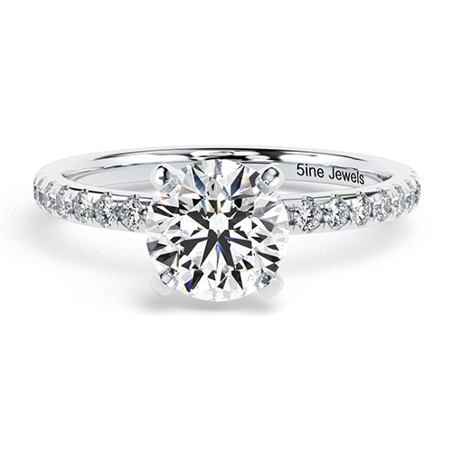 1.25 Ct SI2 F Round Brilliant Cut Petite Diamond Pave Engagement Ring 18K-White Gold