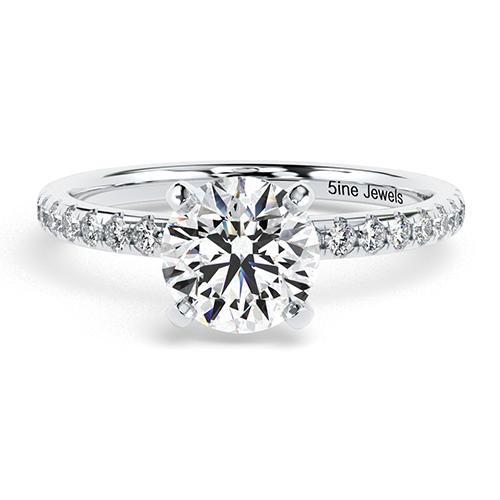 1.25 Ct SI2 F Round Brilliant Cut Petite Diamond Pave Engagement Ring 18K-White Gold