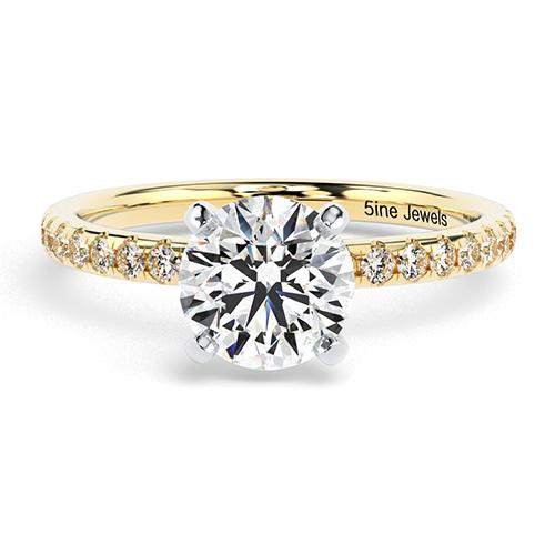 Round Brilliant Cut Petite  Side Stone  Engagement Ring