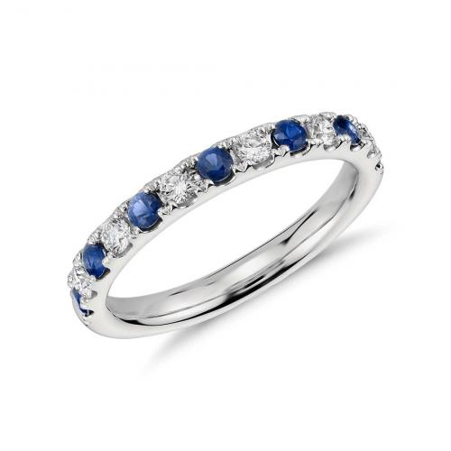 Round Blue Sapphire Half Eternity Diamond Ring In 9Kt White Gold  Eternity Bands  Wedding Ring