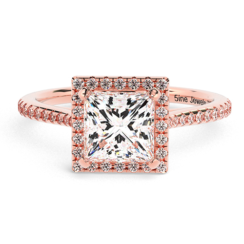 Princess Cut Vintage Floating Diamond Halo Engagement Ring