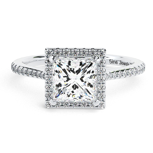 Princess Cut Vintage Floating  Halo  Engagement Ring