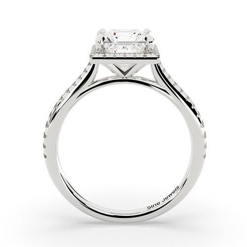 1.40 Ct VS2 H Princess Cut Vintage Floating Diamond Halo Engagement Ring 18K-White Gold