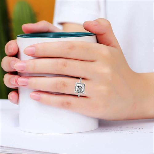 1.40 Ct VS2 H Princess Cut Vintage Floating Diamond Halo Engagement Ring 18K-White Gold