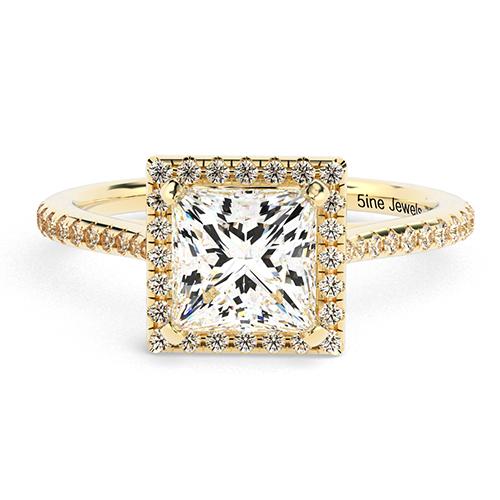 Princess Cut Vintage Floating Diamond Halo Engagement Ring