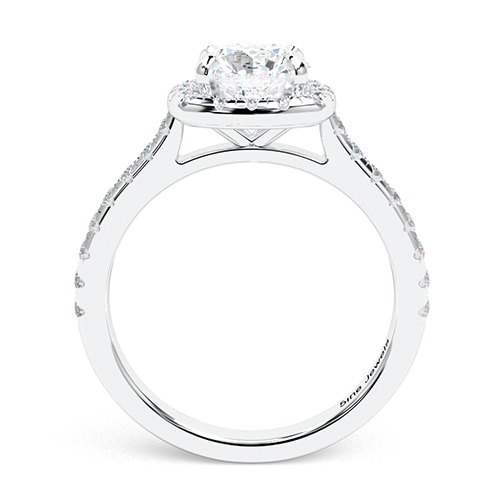1.40 Ct SI1 G Round Brilliant Cut Cushion Style Diamond Halo Engagement Ring 18K-White Gold