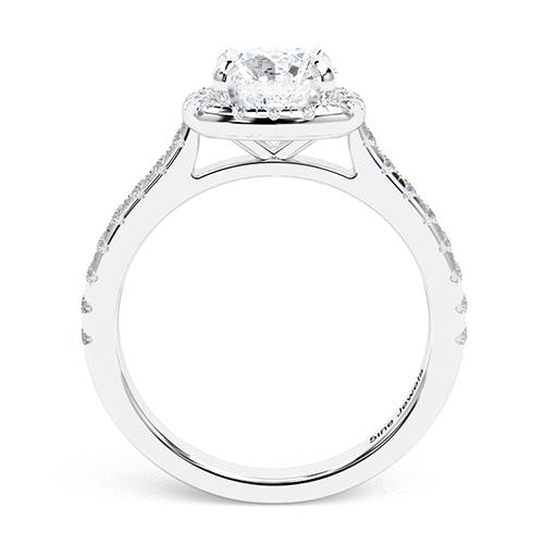 1.40 Ct SI1 G Round Brilliant Cut Cushion Style Diamond Halo Engagement Ring 18K-White Gold