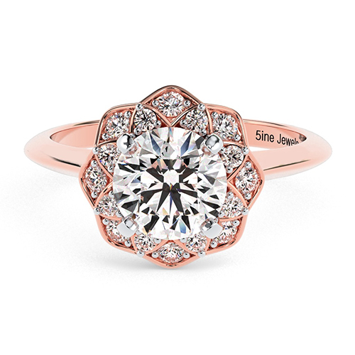 Round Brilliant Cut Knife Edge Flower Style  Halo  Engagement Ring