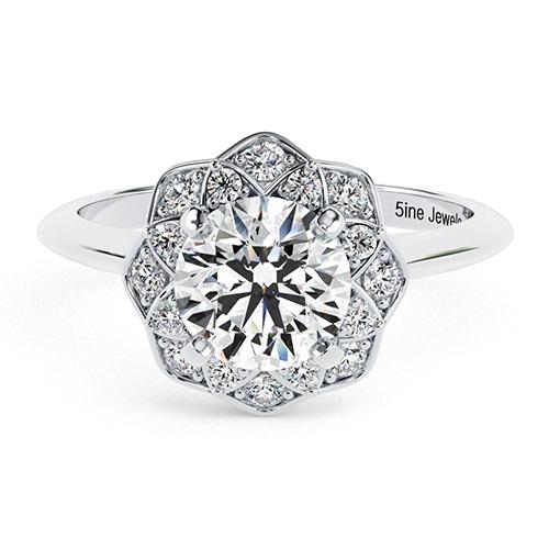 Round Brilliant Cut Knife Edge Flower Style Diamond Halo Engagement Ring