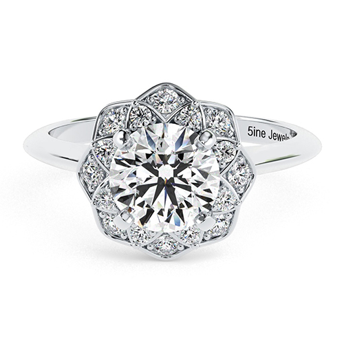 Round Brilliant Cut Knife Edge Flower Style Diamond Halo Engagement Ring