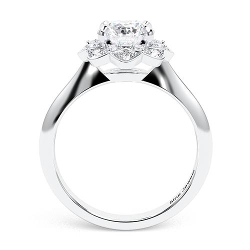 1.25 Ct VS2 G Round Brilliant Cut Knife Edge Flower Style Diamond Halo Engagement Ring 18K-White Gold