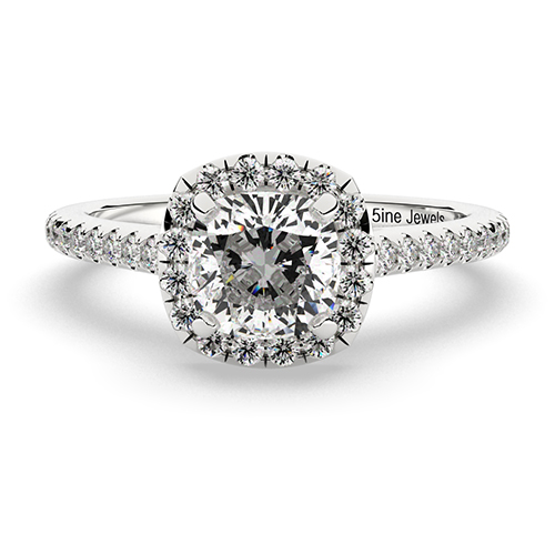 Cushion Cut Cushion Style Diamond Halo Engagement Ring